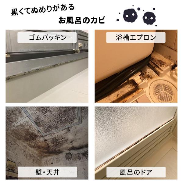 お風呂、浴室に生えた黒カビ