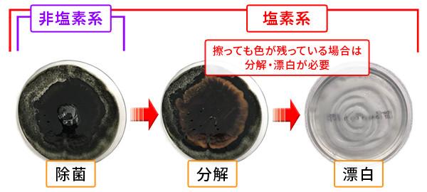 カビ取り剤の除菌、分解、漂白のしくみ3